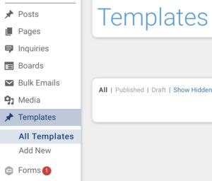 Templates view